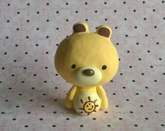Yellow Funshine Care Bear with Sun Sunshine Polymer Clay Animal Ooak Gift Figure Figurine Miniature Cute Collectible
