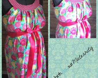 Maternity Hospital Gown- blue with bright pink flowers, polka dot neck