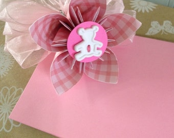 Baby Girl Pink Teddy Bear Paper Kusudama Flower Gift Tag with Bow