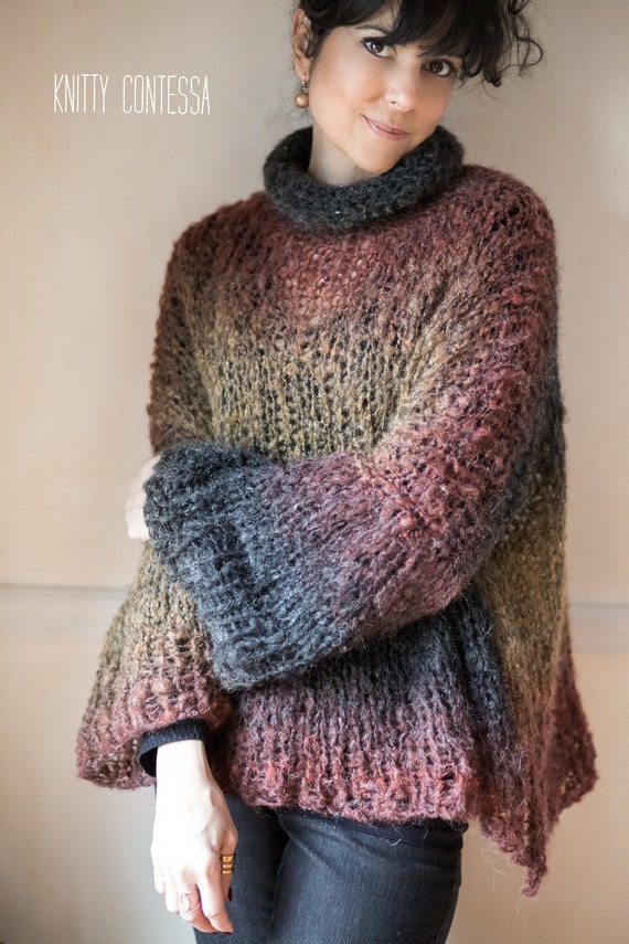 Hand Knit Oversized Sweater Turtleneck Poncho Oversized Knit