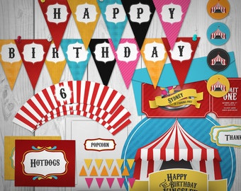 Circus Party Printables // Custom Package // Print-it-yourself