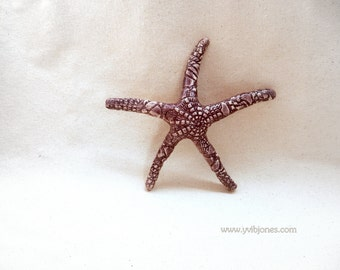 SALE Beach Home Decor Housewarming Gift Starfish Wall Hanging Purple Mauve Beach Cottage Decoration Bathroom Unisex Handmade Gift