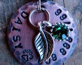 Dog Tag , Custom Pet Tag , Cat Tag , Copper Tag with Leaf and Rhinestone Charm