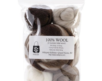 WISTYRIA EDITIONS-Wool Roving Furry Friends Stripe