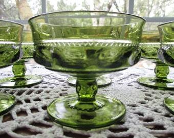 Vintage Indiana Glass - Kings Crown Green Glass Pedestal Sherbet Bowls - Set of Six
