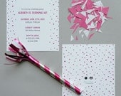 PINK Watercolor Polka Dot Invitations - Printable, DIY, Dalmatian Dots