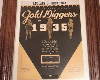 Gold Diggers of 1935 Lullaby of Broadway Vintage framed sheet music