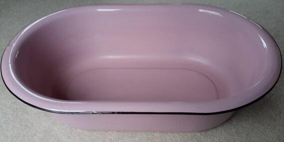 Vintage Pink Porcelain Metal Enamelware Baby Wash Tub Oval