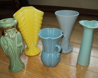 5 Vintage Vases,Instant Collection of interesting  Aqua, Blue, Green and Yellow glazed vases in Good Condition arranged together for display