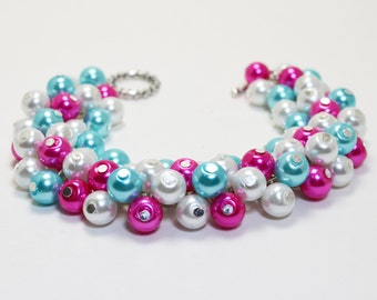 Pear Bracelet, Hot Pink, White and Turquoise Bracelet, Chunky Bracelet, Cluster Bracelet, Bridal Jewelry, Bridesmaid Gift, Summer Bracelet.