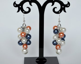 Navy, Coral and Ivory Cluster Earrings, Pearl Earrings, Bridesmaid Jewelry, Bridal Jewelry, Chunky Earrings, Coral Earrings, Beachy Jewelry