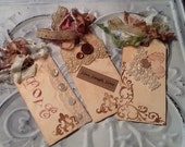 Tea dyed tags, bookmarks, shabby chic, vintage lace and buttons,