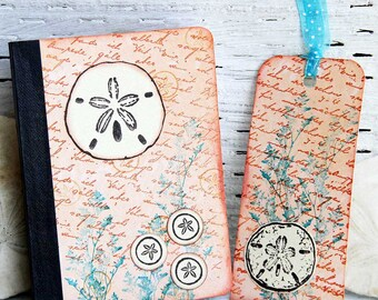 Sanddollar Mini Journal with Matching Bookmark, Pocket Notebook, Beach Journal, Altered Composition Book, Summer Memories Keeper