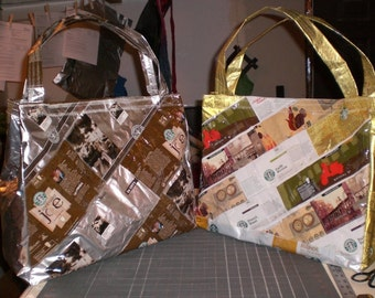Patchwork Lined  Handbag made from upcycled coffee bags