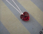 Red Swarovski Heart Necklace sterling silver chain valentine gift sweetheart necklace