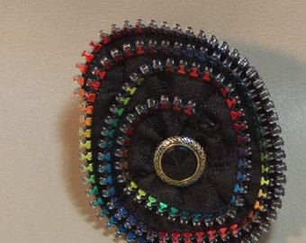 Brooch...Multi color zipper brooch