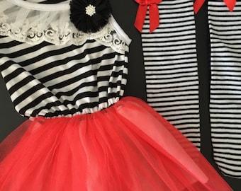 Girls Black & White Striped Tutu Dress