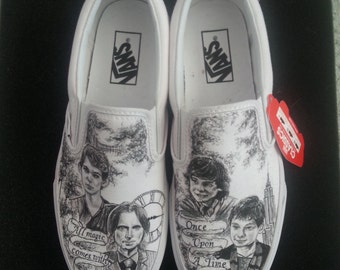 Once Upon A Time Storybrooke Themed Custom Made Shoes with Rumplestiltskin Peter Pan Baelfire and Henry ARTWORK and SHOES INCLUDED