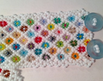 Seed Bead Bracelet White with Flowers Blue Buttons