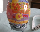 Beautiful Hand Decorated Glass Egg on Stand