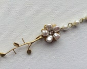 RESERVED - for Melissa - Gold Pearl Bracelet, Golden Colored Flower Floral Jewelry, Women Accessories