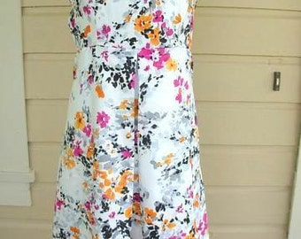 Floral dress, bust 42 dress, silky print dress, inverted box pleat,  flowered dress, XL summer dress, plus size dress, XL spring dress