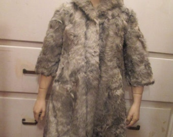 1950's/60' Girls' Grayish All Rabbit Fur COAT-no label