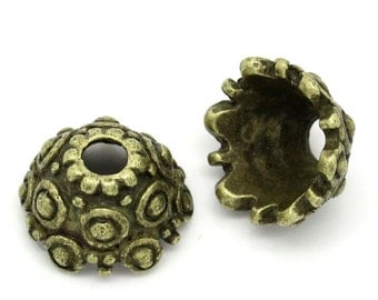 10 Bead Caps - Antique Bronze - Carved Flower And Loop Pattern - 11x6mm - Ships IMMEDIATELY from California - B1181