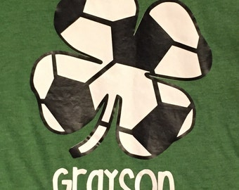 St. Patrick's Day Soccer Shamrock personalized  short sleeve tshirt * boys * girls *