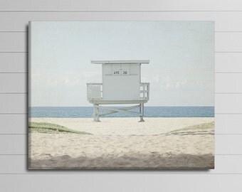 California Canvas Art, Modern Canvas Photography, Lifeguard Tower Artwork, Beach Canvas Wrap, Venice Beach House Decor