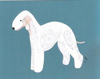 Bedlington Terrier handmade original cut paper collage dog art