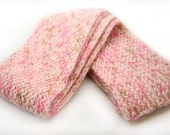 Pink Knit Scarf,  Flat Soft Warm Scarf