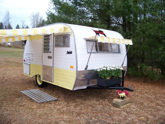Vintage Camper Awning By Sew Country Awnings Yellow White
