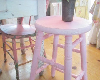 Pink stool chippy painted shabby chic farmhouse stool Free Shipping
