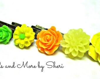 Yellow Orange and Green Flower Bobby Pins - 6