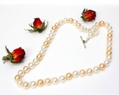 White, Pale Yellow and Gold Swarovski Pearl Necklace