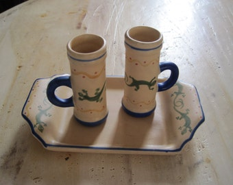 Mexican Folk art gecko shot glasses with tray