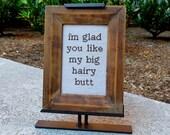 Big Hairy Butt - framed cross stitch