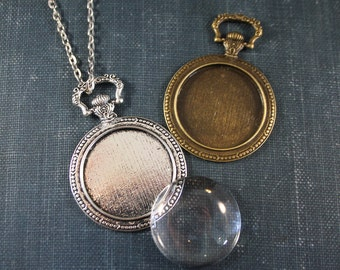 6 KITS -  Pocket Watch Pendant 30 mm 1.18 inch Round Blank Pendant necklace making kits with Matching Glass and Necklaces