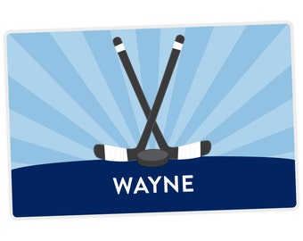 Hockey Placemat - Personalized Placemat for Kids - Sports Placemat - Childrens Placemat - Set The Table - Laminated