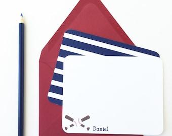 Baseball Note Cards - Personalized Notecards - Baseball Flat Note Cards - Kids Stationery - Children Stationery