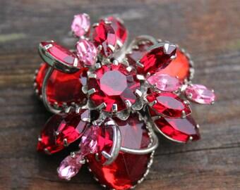 Beautiful Red Rhinestone Multi Level Brooch Pin