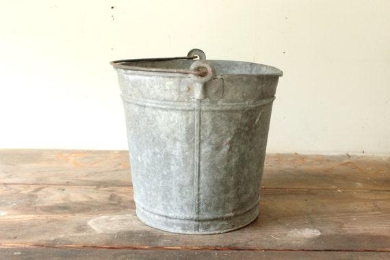 Rustic galvanized bucket planter garden container by for Galvanized well bucket