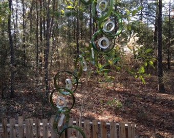 GLASS WINDCHIMES from RECYCLED bottles,   green clear, garden decor, wind chimes, mobiles, musical, windchimes