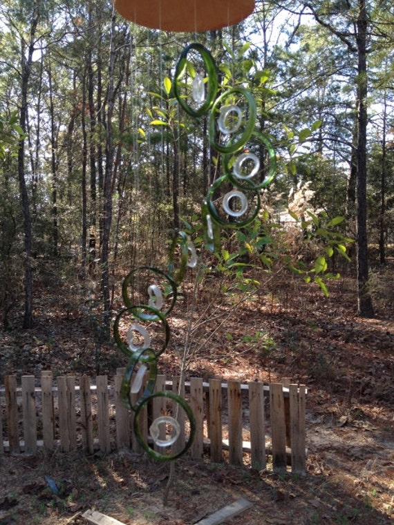 GLASS WINDCHIMES from RECYCLED bottles, eco friendly, green clear, garden decor, wind chimes, mobiles, musical, windchimes
