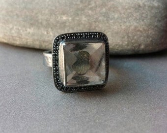 Quartz Ring Dendritic Quartz Ring With Pave Set Black Spinels Fine Jewelry