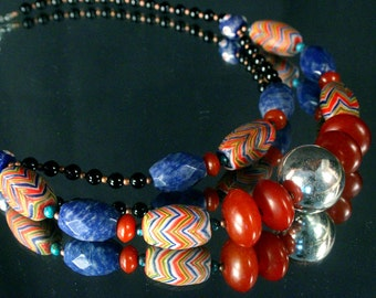 African Jewelry, African Trade Bead Necklace, African Feather Bead, African Amber, Ethnic Jewelry, Multi Strand Necklace, Tribal Jewelry