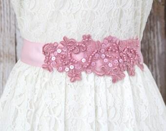 Rose Sequined and Beaded  Lace with Pink Satin Ribbon Sash, Dustry Rose Lace Bridal Sash, Bridal headband, Bridesmaid Sash / SH-40