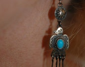 RESERVED FOR A Sweet Navajo Marcella James Sterling Thunderbird & Sleeping Beauty Turquoise Long Dangle Earrings