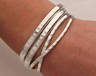 Hammered Cuff Bracelets, Sterling Silver